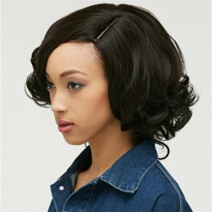 Shaggy Short Curly Capless Side Parting Heat Resistant Synthetic Wig - BLACK