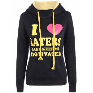 Letter Heart Print Pullover Hoodie