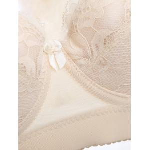 Push Up Lace Insert See Thru Bra Set - SKIN COLOR 90C