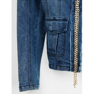 Embellished Zip Up Denim Jacket -