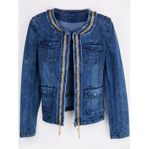 Embellished Zip Up Denim Jacket - BLUE L