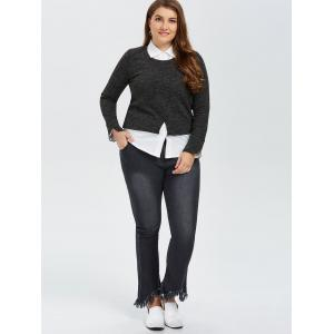Faux Twinset Long Sleeve Blouse - BLACK 5XL