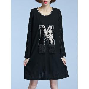 Long Sleeve M Patched Semi Sheer Dress