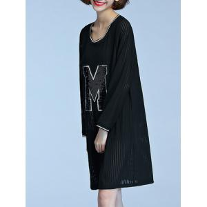 Long Sleeve M Patched Semi Sheer Dress - BLACK 4XL