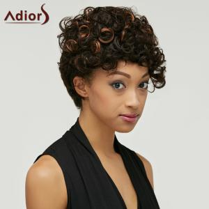 Shaggy Kinky Curly Black Brown Mixed Synthetic Trendy Short Side Bang Wig For Women - COLORMIX