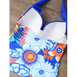 Halter Floral Underwire Padded Push Up Tankini Bathing Suit - BLUE L