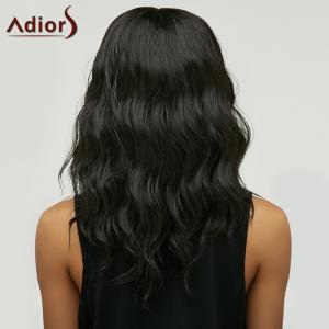 Trendy Black Brown Ombre Synthetic Fluffy Medium Natural Wave Women's Adiors Wig - BLACK/BROWN