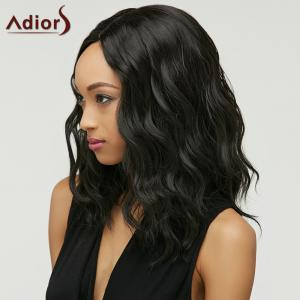 Trendy Black Brown Ombre Synthetic Fluffy Medium Natural Wave Women's Adiors Wig - BLACK AND BROWN