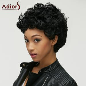 Fashion Black Short Capless Fluffy Curly Synthetic Wig For Women - BLACK