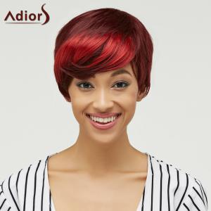 Trendy Side Bang Red Mixed Brown Fluffy Straight Short Synthetic Wig For Women - COLORMIX