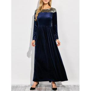 Velvet Formal Long Sleeve Evening Maxi Dress