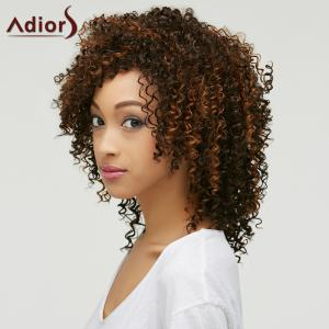 Trendy Brown Mixed Medium Capless Fluffy Curly Synthetic Wig For Women - COLORMIX