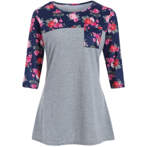 Rose Pocket Loose T-Shirt - Gray - S