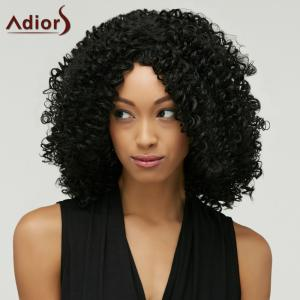 Fashion Black Towheaded Afro Curly Heat Resistant Synthetic Medium Capless Wig For Women -