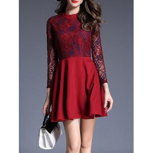 Lace Panel Fit and Flare Mini Dress -