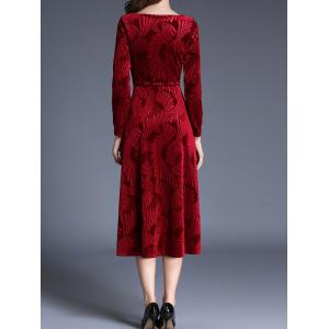 Midi Velvet Jacquard Long Sleeve Swing Dress - WINE RED S