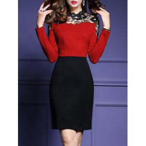 High Waist Lace Panel Sheath Work Dress