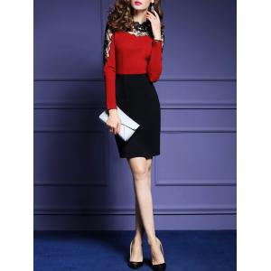 High Waist Lace Panel Sheath Dress - RED S