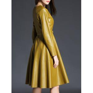 PU Leather Long Sleeve A Line Dress With Belt - YELLOW XL