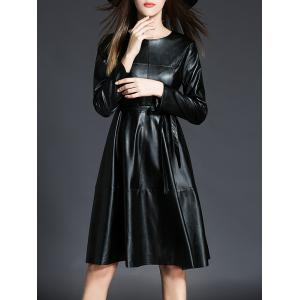 PU Leather Long Sleeve A Line Dress With Belt