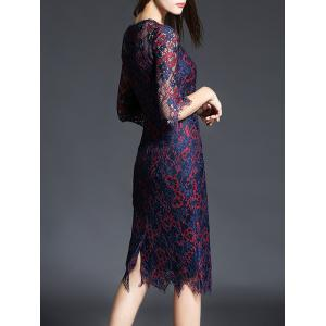 Tea Length Lace See Thru Sheath Party Dress - PURPLISH RED 3XL