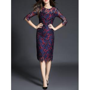 Tea Length Lace See Thru Sheath Party Dress - Purplish Red - L