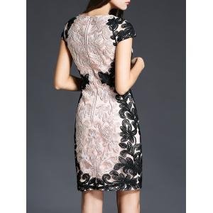 Embroidery Lace Short Sheath Formal Dress - PINK 3XL