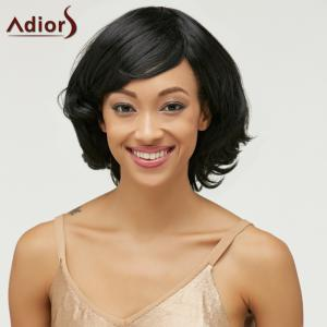 Ladylike Medium Black Synthetic Shaggy Natural Wave Capless Wig For Women - BLACK