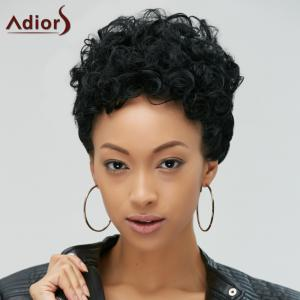 Short Fluffy Curly Heat Resistant Fiber Wig - BLACK