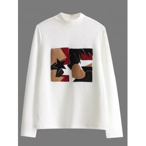 High Neck Patch Pullover Ribbed Sweater - White - L