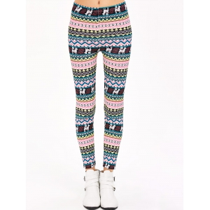 Christmas Patterned Stretchy Aztec Print Leggings - MULTICO XL