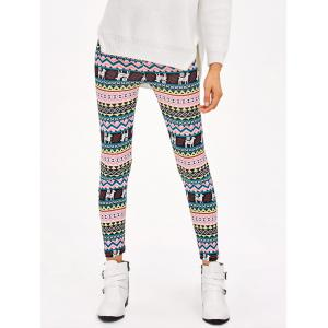 Christmas Patterned Stretchy Aztec Print Leggings - Multico - M