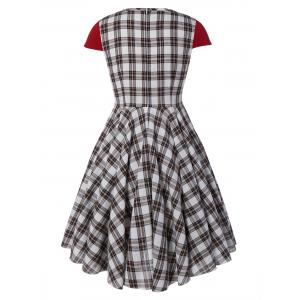 Plus Size Checked Pin Up Skater Midi Dress -
