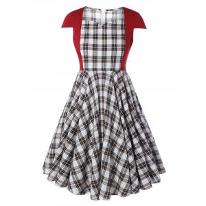 Plus Size Checked Pin Up Skater Midi Dress