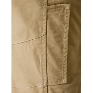 Splicing Design Single Breasted Coat - KHAKI 2XL
