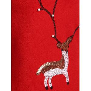 Christmas Reindeer Graphic Sequined Sweater - RED ONE SIZE