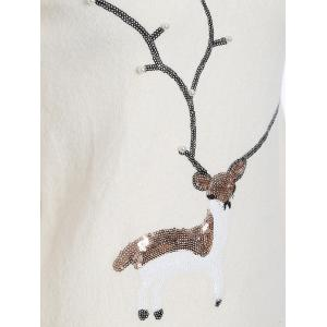 Christmas Reindeer Graphic Sequined Sweater - WHITE ONE SIZE