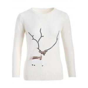 Christmas Reindeer Graphic Sequined Sweater - White - One Size