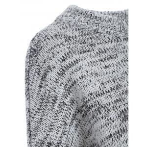 Dolman Sleeve Heathered Sweater - GRAY ONE SIZE