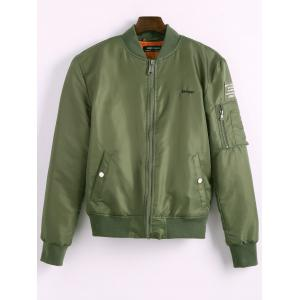 Back Tiger Embroidered Bomber Jacket with Pockets - Green - S