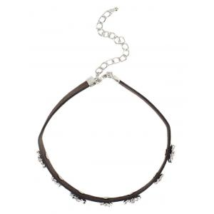 Floral Rhinestone Faux Leather Choker - SILVER