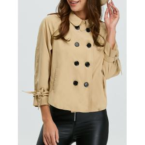Epaulet Double Breasted Jacket - Apricot - Xs