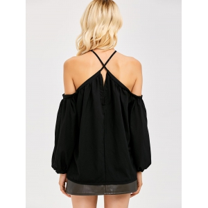Cold Shoulder Pleated Blouse - BLACK S