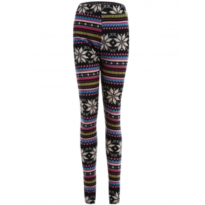 Snowflake Print Flocking Skintight Leggings