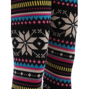 Snowflake Print Flocking Skintight Leggings - COLORMIX ONE SIZE