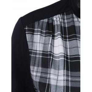 Plaid Trim Single Breasted T-Shirt - CHECKED 5XL