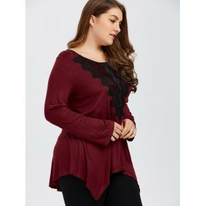 Plus Size Embroidery Trim Asymmetrical T-Shirt - RED WITH BLACK XL