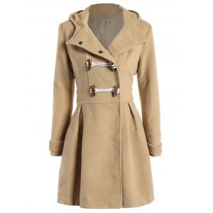 Skirted Hooded Long Wrap Duffle Coat - Champagne - Xl