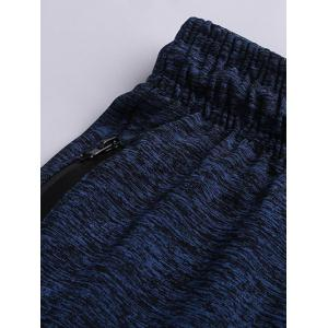 Drawstring Sports Pants with Zip - DEEP BLUE 2XL