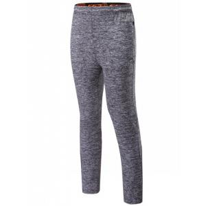 Drawstring Sports Pants with Zip - Deep Gray - 2xl